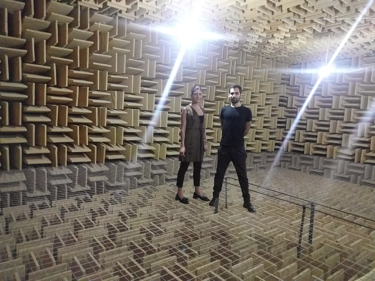 Serene Audio founders in anechoic chamber